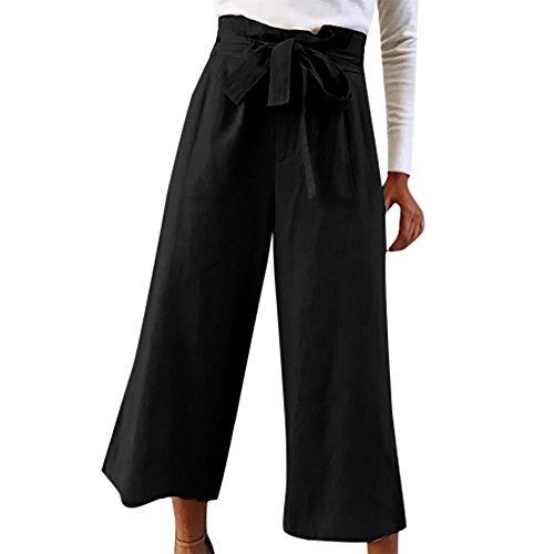 AMUSTER Damen Hosen 7/8 Elegant High Waist Palazzo Hose Culottes Hosenrock Frauen Hohe Taille Breites Bein Lange Hosen Haremshose Yogahose -