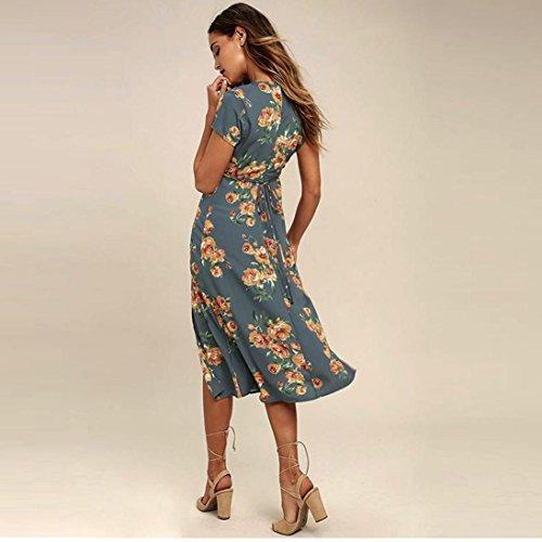 WOCACHI Damen Sommer Kleider Mode Frauen Reizvolles Kurzarm Deep VNeck  Blumenmuster Unregelmäßiger Rock Saum Knielänge Blau Kleider Blau