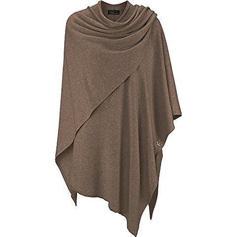 Zwillingsherz para Mujer Poncho de Cachemir One Size marrón