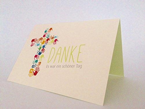 "5 Hochwertige Danksagungskarten Doppelkarte - Klappkarte ""Danke"" Kommunion"