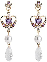 3999ddc34bc5 GRRNUY S925 Plata Rosa Morado aguja encanta Flash Diamond Earrings Perla  barroca oreja caída