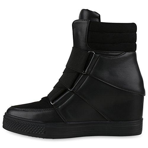 Damen Sneakers Keilabsatz Sneaker-Wedges Schuhe Schwarz