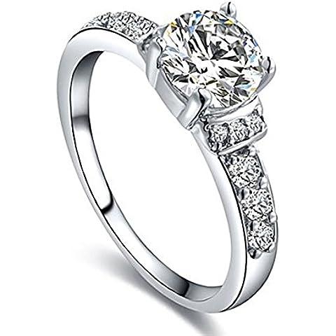 Da donna Bling Gioielli platino placcato cristalli pavimentazione solitario anello Sparkle