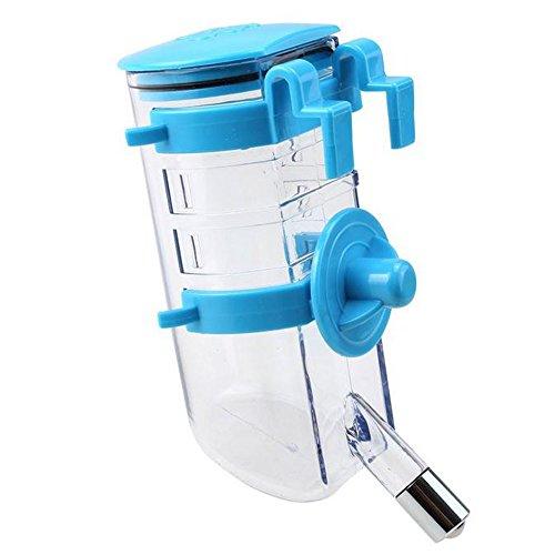 500ML Hunde Wasserflasche Wasserspender Trinkflasche Hängend Trinkt Wasser Flasche Tierzubehör für Hund Katze Welpen Haustier (Blau)