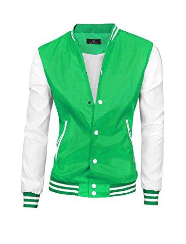 Hommes Veste Droite Manches Longues Col Montant Contraste Couleur Vestes Vert