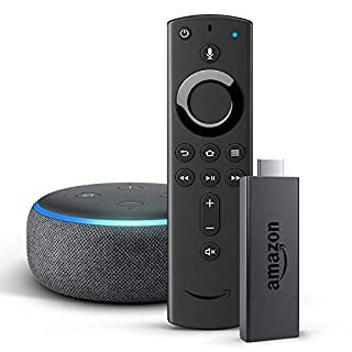 Fire TV Stick mit der neuen Alexa-Sprachfernbedienung + Echo Dot (3. Generation), Anthrazit Stoff
