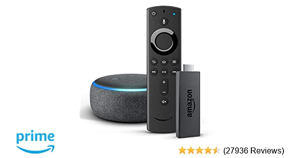 Amazon Fire TV Stick with Alexa Voice Remote + Echo Dot (3rd Gen), Charcoal  Fabric