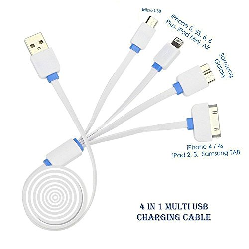 4 in 1 Multi Charger, Multi USB Charger Cable (connector/adaptor), Premium Quality 4 in 1 Multiple USB Charging Cable Adapter Connector with Lightning and Micro USB for iPhone 6/6s, 6 Plus/ 6s Plus, 5/ 5S/ 5C/ SE, 4G/3G, iPad 2/3/4, iPad Air, iPad Mini, id 4th Gen, iPod Touch 5th Gen, iPod Nano 7th Gen, Samsung, HTC, LG, Sony, Blackberry, Power Bank, External Battery, Car Charger, and More ?  available at amazon for Rs.449