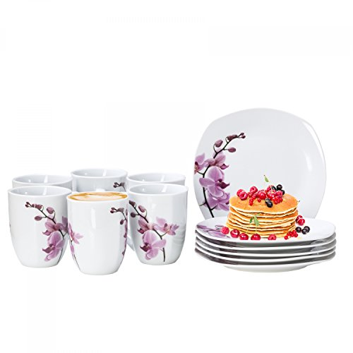 Van Well 12tlg. Frühstücksservice Kyoto für 6 Personen, 6 Kaffeebecher + 6 kleine Teller,...