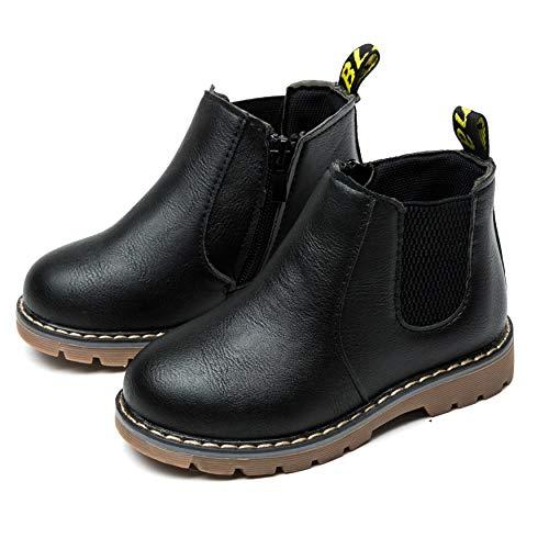 Nasonberg Jungen Mädchen Winter Leder Schneestiefel Warme weiche Winterschuhe Boots für Kinder Baby, Schwarz, 24 EU=Innenlänge 14CM