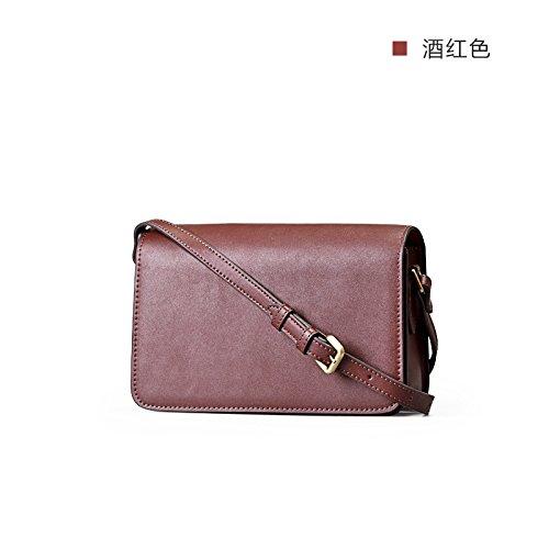 Nouveau cuir Messenger-baodan épaule sac bandoulière Petite simplicité rétro Wine Red