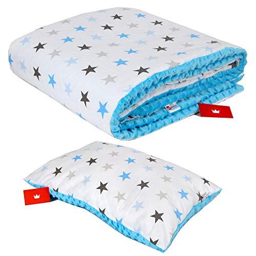 BABYLUX Kuscheldecke 100 x 150 cm Decke Babydecke Kinderdecke MINKY XXL (9. Blau + Sterne mit Kissen)
