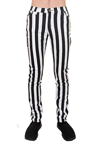 Run & Fly Mens Indie Vintage Retro 60s 70s Mod Black White Striped Stretch Skinny Jeans