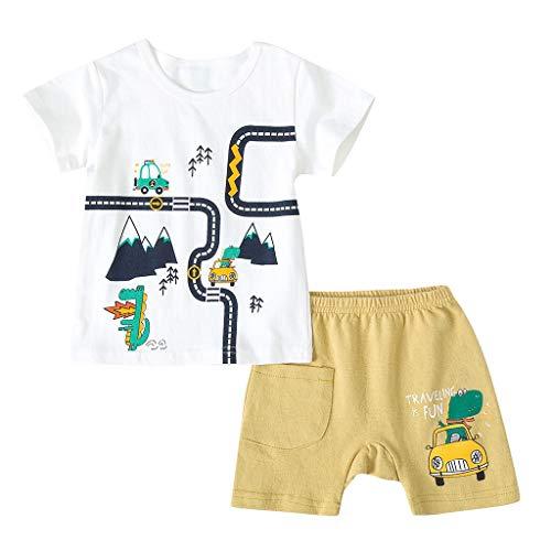 wuayi  Baby Jungen Mädchen Kleidung, Baby Kurzarm Cartoon Auto Print T-Shirt Shorts Outfits 0-3 Jahre