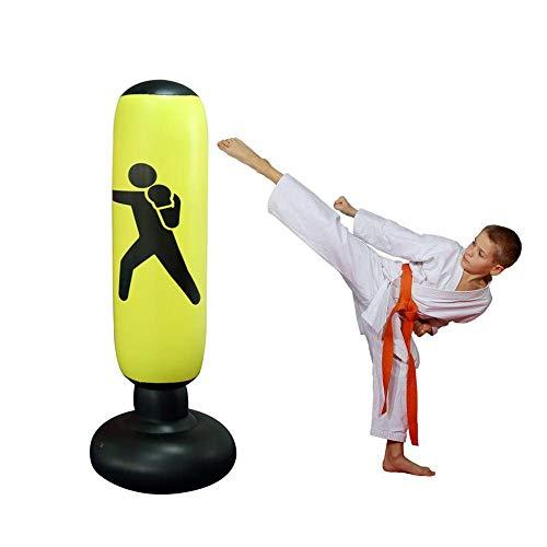 Womdee Saco de Boxeo para Mujer, Inflable, Saco de Boxeo y Saco de Boxeo con Base Gruesa, lo Suficientemente Fuerte como para Niños y Adultos, Ejercicio y Alivio del Estrés, 160 Cm, Amarillo