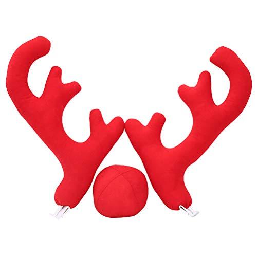 uto Geweih mit Nase Ornamente Weihnachtsschmuck für Fahrzeuge (rot) ()