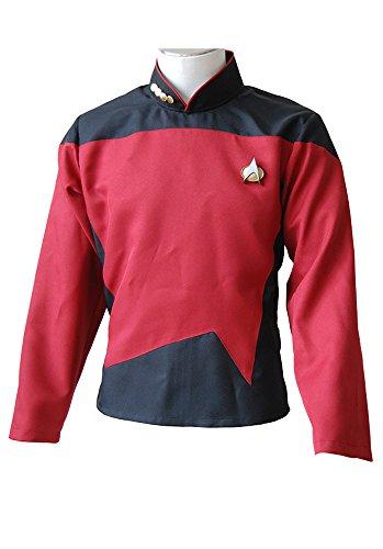 Fuman Star Trek TNG The Next Generation Rot Shirt Uniform Cosplay Kostüm Herren (Kleid Trek Next Star Generation)
