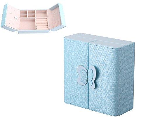 Caja Joyero Caja para Joyerías Organizador PU Caja Almacenamiento de Joyas de Pendientes, Anillos, Pulseras, Collares, Relojes, Regalo del para Las m