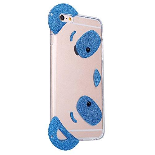 iPhone 6S Plus Hülle,iPhone 6 Plus Hülle,SainCat iPhone 6 Plus/6S Plus Silikon Hülle Tasche Handyhülle Schwarz Farbe Glitzer Stern Schutzhülle Transparent TPU Gel Case Bumper Weiche Crystal Kirstall C Glitter Panda-Blau