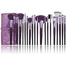 e-beshiny––Juego de 21brochas de maquillaje profesional cosméticos Kits de maquillaje cepillo conjunto con bolsa de color morado