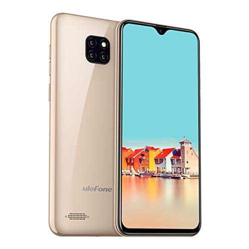 Ulefone Note 7 Günstige Handys ohne Vertrag Triple Kamera 8MP+2MP+2MP, 6.1 Zoll Waterdrop Display 16 GB ROM Dual SIM Android 8.1 Smartphone, 3500mAh Akku Global 3G Version - Gold