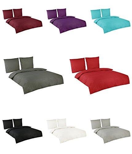 Baumwolle Renforce Uni Bettwäsche in vielen Farben 200x200 cm 2 x 80x80 cm Grau