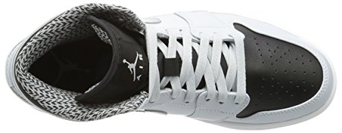 Nike Uomo Air Jordan 1 Mid scarpe sportive Multicolore (Pr Pltnm/White/Mtllc Slvr/Blk)