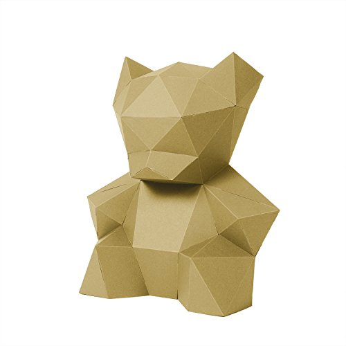 Bär aus FSC-Papier ohne Kleben. Geschenk für werdende Mütter Moderne Kinderzimmer-Deko 26 x 24 x 14cm Made in Germany (liberate gold) (Bar-dekor-ideen)