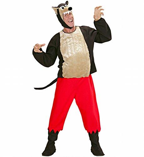 Widmann 50953 - Erwachsenenkostüm Wolf, Gepolsterter Kasack, Hose, Stiefelbedeckung und Kopfbedeckung mit Maske, Gröߟe L (Big Bad Wolf Maske Kostüm)