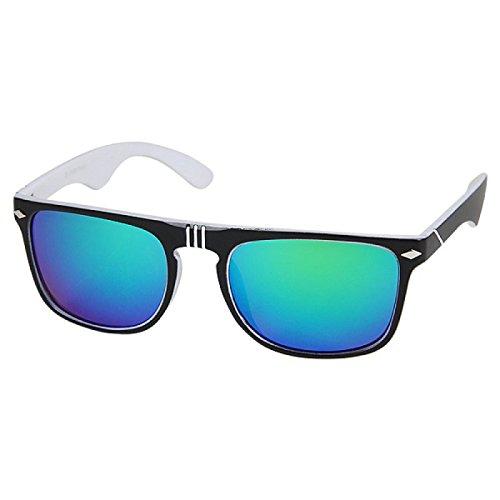 Hochwertige Sonnenbrille Vintage Nerd Style Rauten Spitze 400UV Bunt verspiegelt Rillen Schwarz Weiß