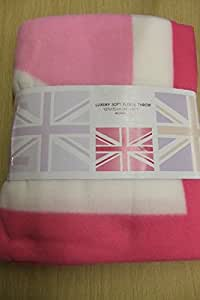 Couvre-lit en polaire Motif Union Jack rose