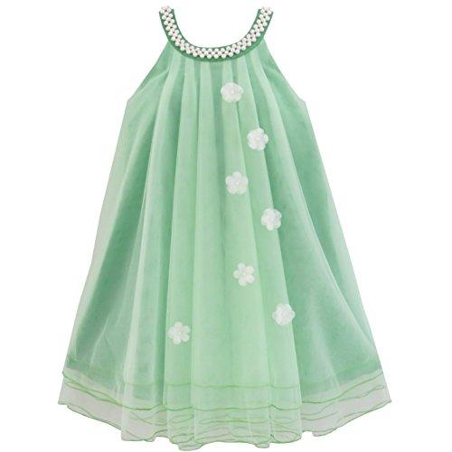 Sunboree Mädchen Kleid Blume Halfter Kleiden Perle Hochzeit Gr. 110
