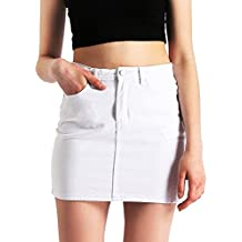 AMORETU Damen Hohe Taille Kurz Bleistiftrock Minirock Jeansrock mit Taschen a5690a08bd