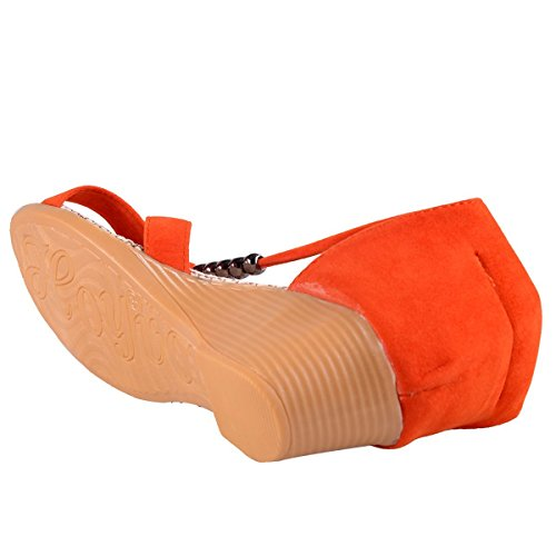 Minetom Casual Sandali da Donne d'estate Scarpe Pantofole con Perline Nastri Accessorio Vacanza Arancione