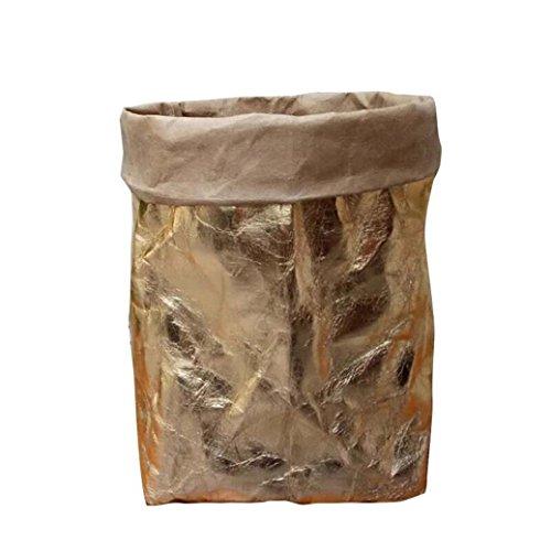 Grün-Haushalt Papiertaschen Aufbewahrungstasche,Jaminy Papiertüten mit Holzklammer Waschbar Kraft Papiertüte Pflanze Blumentöpfe Multifunktion Home Storage Bag Wiederverwendung (8 x 8 x15CM) (Roségold)