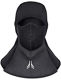 Lingear Balaclava Ski Mask for Men Women Winter Cold weather Motorcycle Hood Full Face Mask With Activated Carbon Filter,Waterproof Windproof Neck Warmer for sports Snowboard helmet Skiing Black