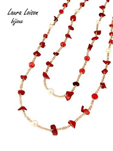 Laura loison bijoux - collana donna lunga con perle e pietre naturali