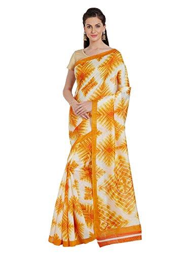 OOMPH! Women's Bhagalpuri Silk Saree (Rbks_Festival050_Eggshell Light)