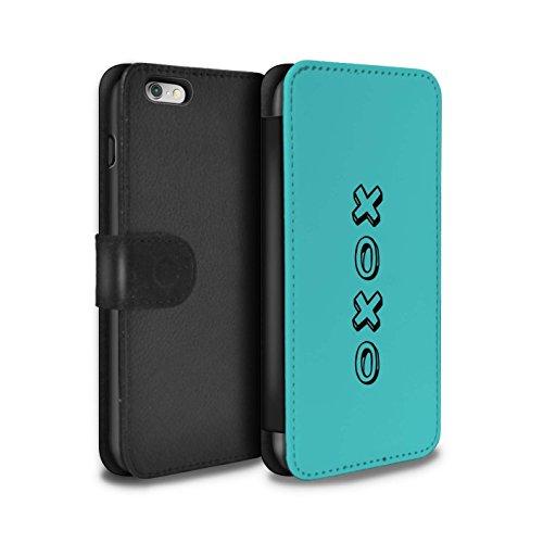 Stuff4 Coque/Etui/Housse Cuir PU Case/Cover pour Apple iPhone 6S+/Plus / Bleu/Amour du Vin Design / Coeur XOXO Collection Blue/Câlins et Baisers