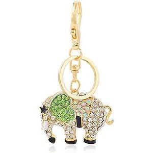 Klaritta HK112 Schlüsselanhänger, Handtaschen-Schnalle, grünes Herz, Elefant, Schlüsselanhänger