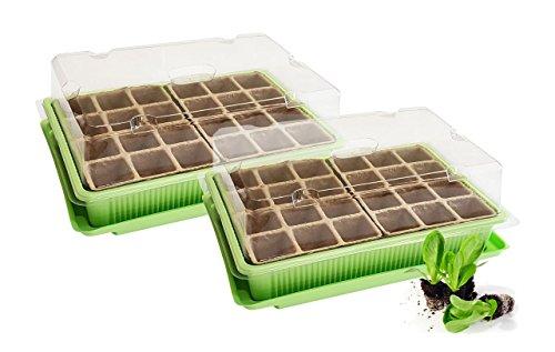 Quantio 2X Mini Gewächshaus - für bis zu 48 Pflanzen, ca. 27 x 19 x 10 cm (LxBxH) je...