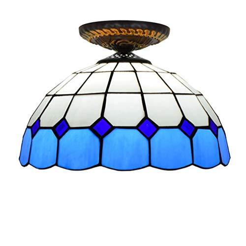 XYQS Tiffany Style Retro European Semi Flush Deckenleuchte Farbe Glas 12 Zoll Handgefertigter Lampenschirm Geeignet für Wohnzimmer Schlafzimmer Restaurant Bar Gang Korridor Coffee Shop (watt : 220V)