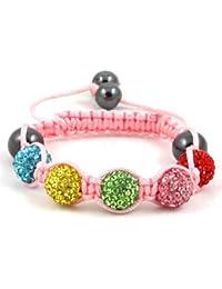 05-Ball Children Kids Girls Boys Petites Teen Multi Colour Bead Shamballa Bracelet on Pink String