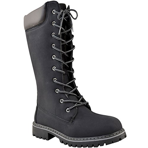 1edb3fc6f8a Womens Ladies Knee High Army Combat Winter Boots Timbs Lace Up Winter Shoes  Size - Buy Online in UAE.