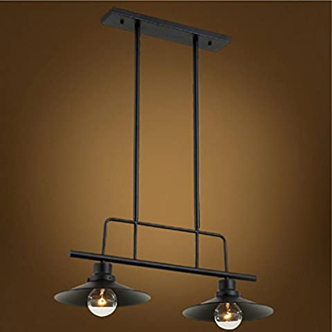 Aiwen Fer Forgé Lustre lampe de plafond pendentif ( Ampoules non incluses ) Noir ( 2 supports de lampe )
