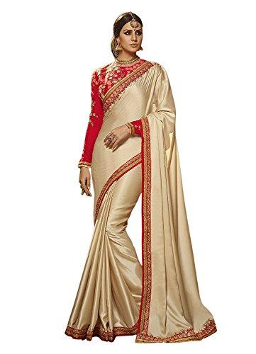 Kjp Villa Women\'s Barfi Silk White Free Size Embroidery Saree With Blouse Pics sakshi-1142