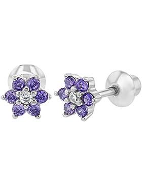 In Season Jewelry Säugling Kleinkind Baby - Schraubverschluss Ohrringe Blume 925 Sterling Silber Lila CZ Zirkonia