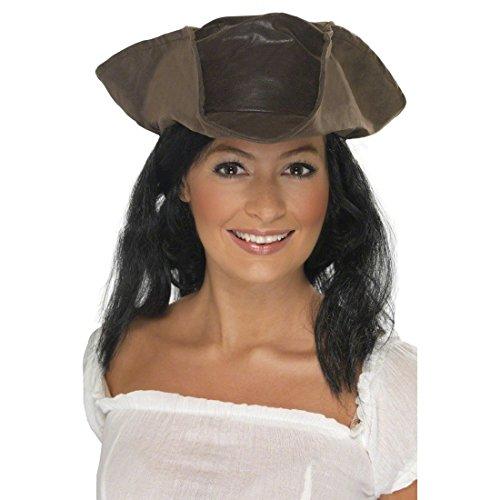 Zubehör Kopfbedeckung Kostüm - NET TOYS Piratenhut Damen Piraten Hut Dreispitz Damenhut Pirat Kopfbedeckung Piratenbraut Kostüm Zubehör
