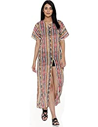 The Kaftan Company Cream-Coloured & Pink Printed Maxi Cover-up Dress