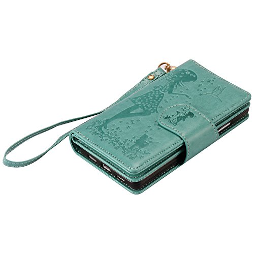 Huawei P8 Lite Case,Huawei P8 Lite Cover,ikasus Embossing Floral Flower Dresses Girl With Cat Birds Pattern Premium PU Leather Fold Wallet Pouch Case Wallet Flip Cover Bookstyle Magnetic Closure with Card Slots & Stand Function Protective Case Cover for Huawei P8 Lite,Green